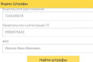 Форма заполнения Яндекс.Штрафы (нажмите для увеличения)