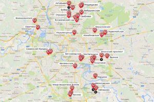 Карта перехватывающих парковок Москвы. (Для увеличения нажмите.)