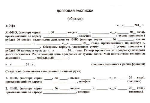 расписка по мировому соглашению образец